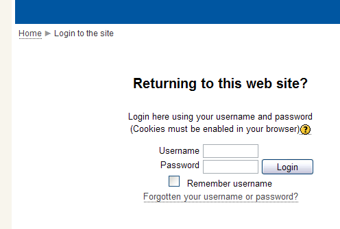 Moodle login screenshot